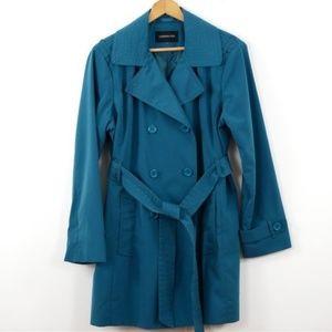 "London Fog Trench Coat Teal Size 16 XL 34"" L EUC!!"
